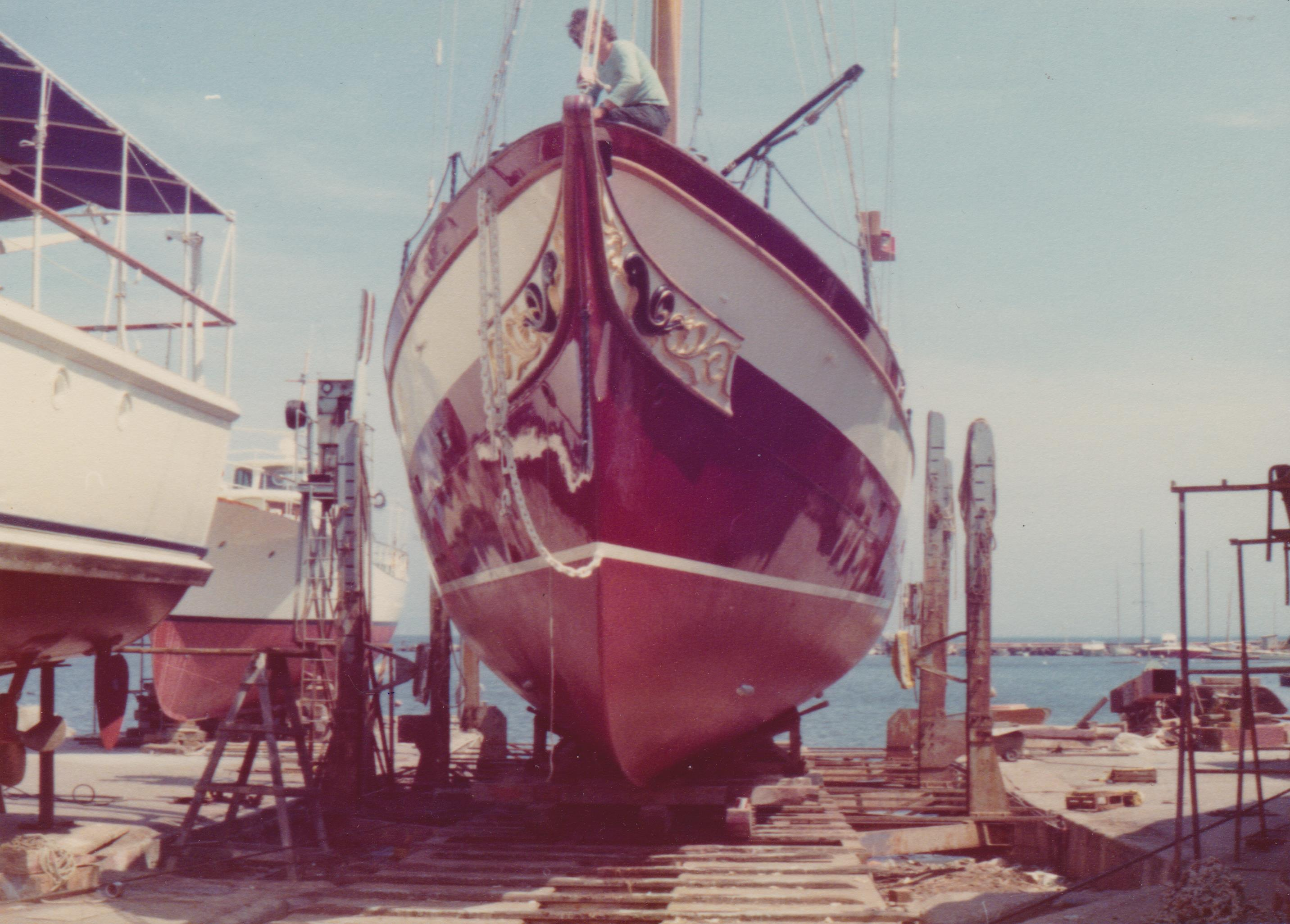 Classic ship Dolphin on slipway